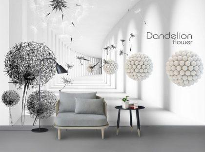 کاغذ دیواری انتزاغی و گل