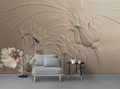 طرح نقاشی شده گل کاغذ دیواری