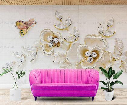 طرح گل سه بعدی کاغذ دیواری