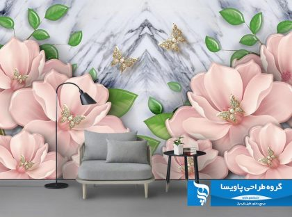 کاغذ دیواری گل های صورتی