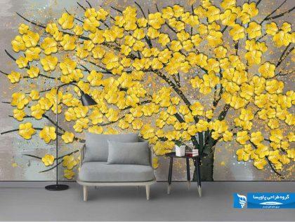 کاغذ دیواری درخت با گل های زرد