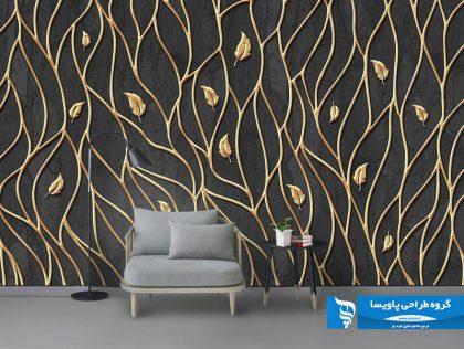 طرح کاغذ دیواری زمینه تیره با گل های طلایی