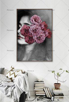 کاغذ دیواری دختری با صورت گل