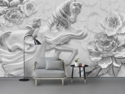 دانلود کاغذ دیواری سه بعدی باطرح اسب افسانه ای
