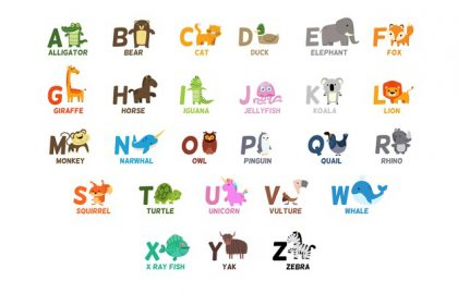 وکتور آماده حروف الفبا با حیوانات زیبا به عنوان حروف