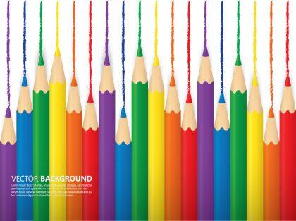 وکتور بک گراند طرح مداد رنگی