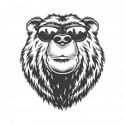 وکتور آماده خرس شیک با عینک آفتابی