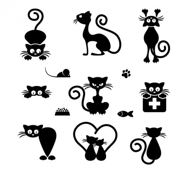 وکتور آماده مجموعه آیکون های گربه