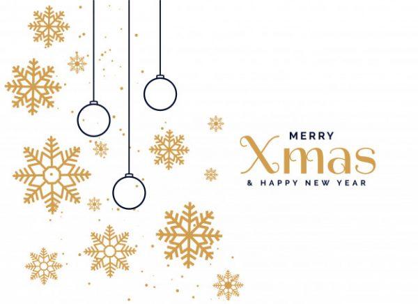 فایل psd وکتور پس زمینه تبریک کریسمس دانه های برف و حباب های تزئینی زیبا