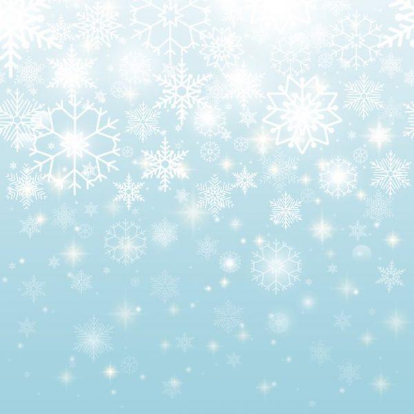 فایل psd وکتور دانه های برف سفید زیبا با پس زمینه آسمان آبی