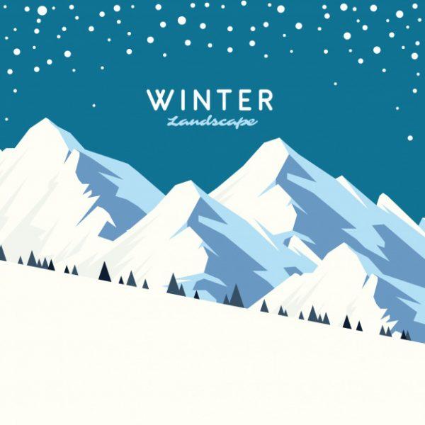 فایل psd وکتور پس زمینه چشم انداز زمستانی کوهستان زیبا