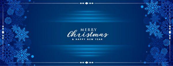 فایل psd وکتور بنر کریسمس مبارک با تزیین دانه های برف زمینه ی آبی