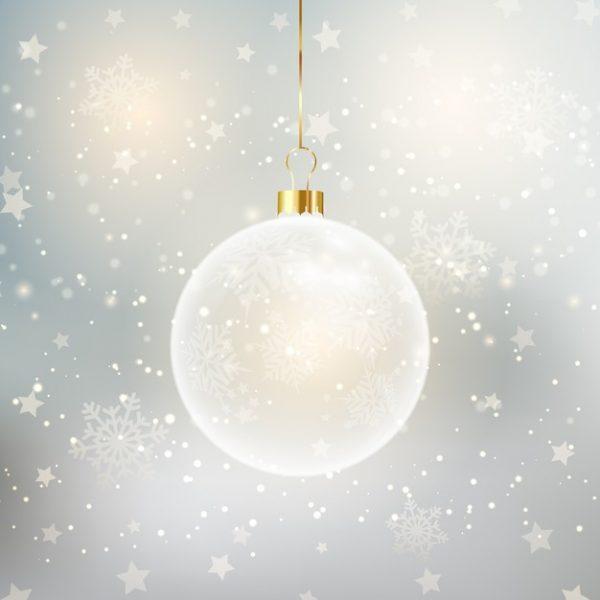 فایل psd وکتور پس زمینه کریسمس با حباب آویز تزئینی