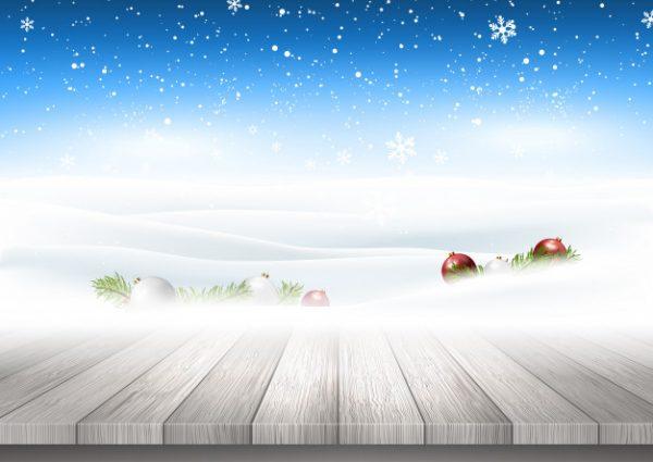 وکتور آماده دانلود پس زمینه کریسمس با میز چوبی منظره برفی