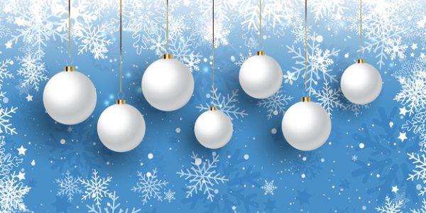 فایل آماده دانلود وکتور بنر کریسمس با حباب آویز طرح دانه برف