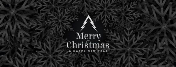 فایل آماده دانلود وکتور بنر جشنواره کریسمس با طرح سیاه طرح دانه های برف