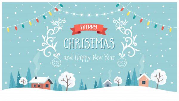 وکتور آماده دانلود کارت تبریک کریسمس با متن زیبا و منظره تزئین شده