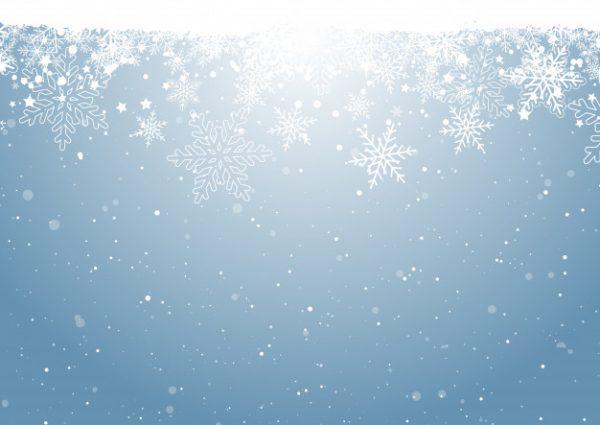 طرح لایه باز وکتور آسمان برفی و بلورهای برف