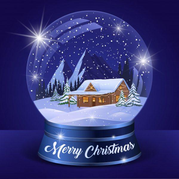 فایل آماده دانلود وکتور کره کریستالی چشم انداز کریسمس