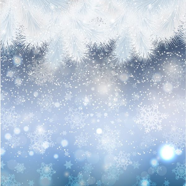 فایل psd وکتور کریسمس با حاشیه درخت صنوبر برفی