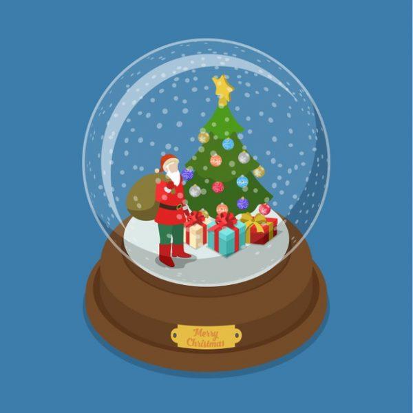 فایل psd وکتور توپ کریستال کریسمس تزئین شده درخت جعبه های هدیه