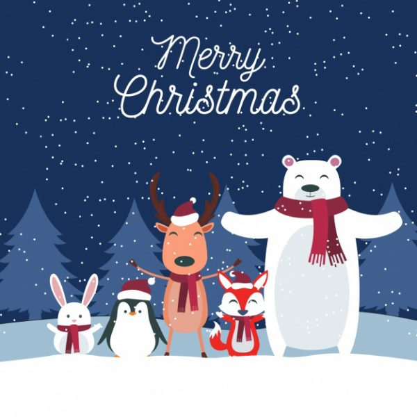 وکتور آماده دانلود حیوانات زیبا و کریسمس