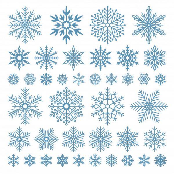 فایل psd وکتور بلورهای دانه برف زمستان اشک برفی
