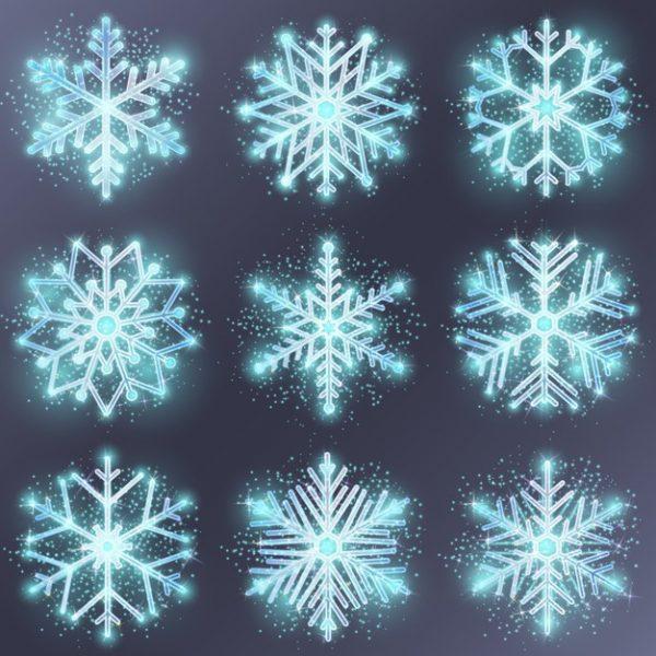 فایل آماده دانلود وکتور دانه برف تزئین فصل زمستان کریسمس
