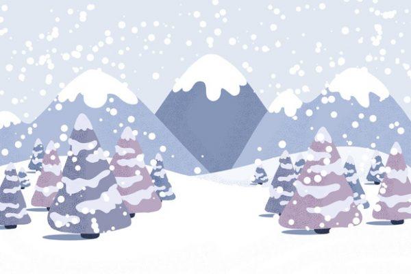 وکتور آماده دانلود منظره زمستانی کوهستان و جنگل پوشیده از برف