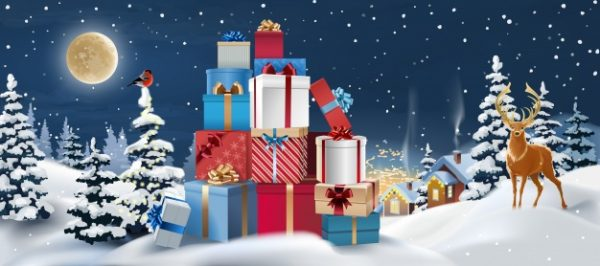 فایل آماده دانلود وکتور چشم اندازبرفی و هدایای کریسمس و گوزن