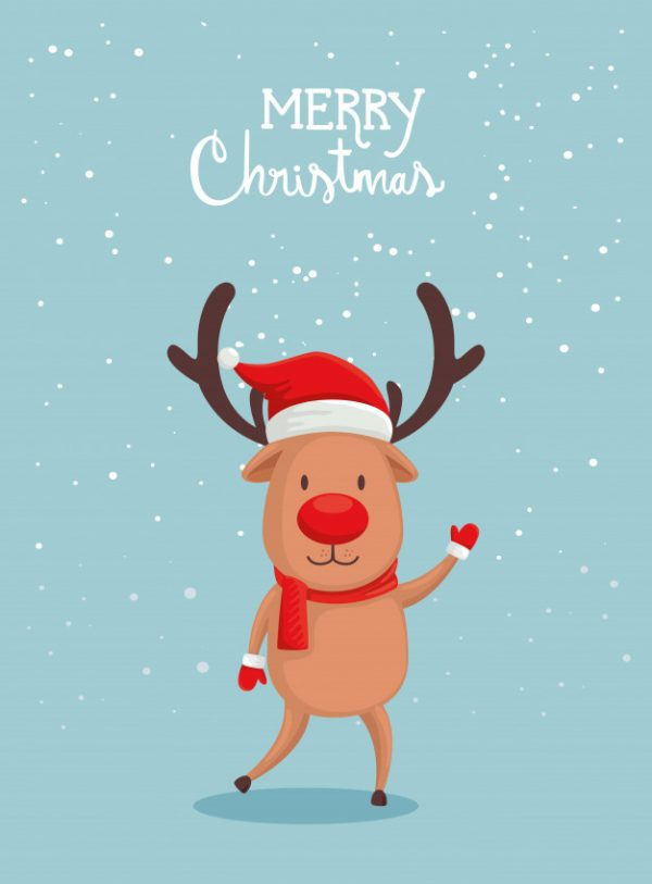 فایل آماده دانلود وکتور کارت کریسمس مبارک با گوزن های شمالی زیبا
