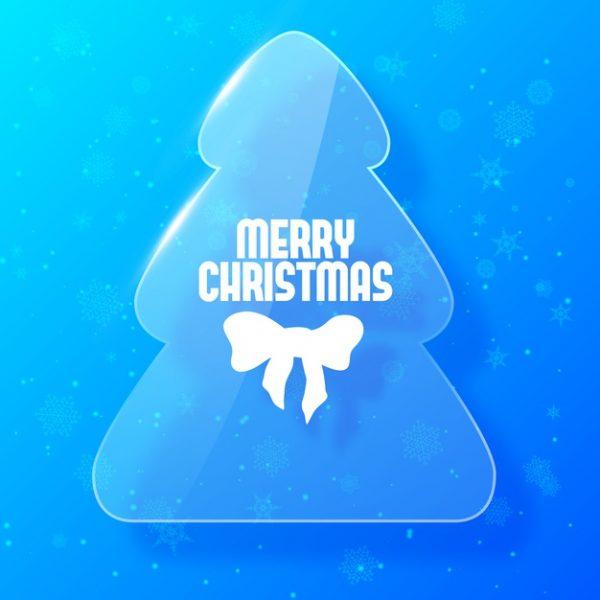 وکتور آماده دانلود کارت کریسمس مبارک با سبک شیشه ای درخت صنوبر