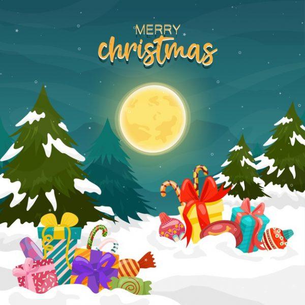 فایل آماده دانلود وکتور کریسمس با جعبه هدیه درخت کاج کوه قرص ماه