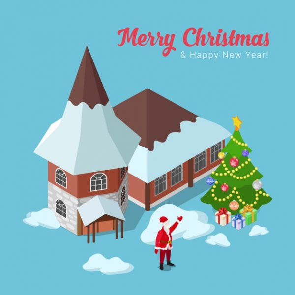 فایل psd وکتور تبریک کریسمس خانه ی بابانوئل و درخت کریسمس
