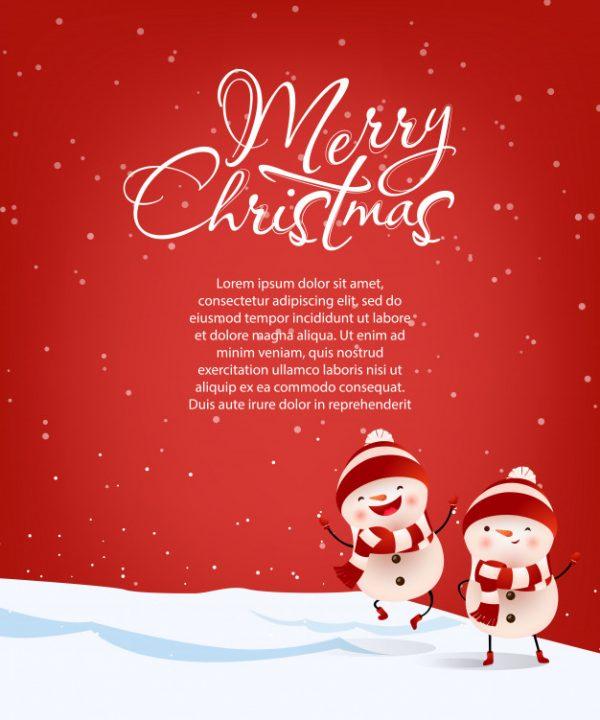 فایل آماده دانلود وکتور نامه کریسمس مبارک با متن نمونه آدم برفی