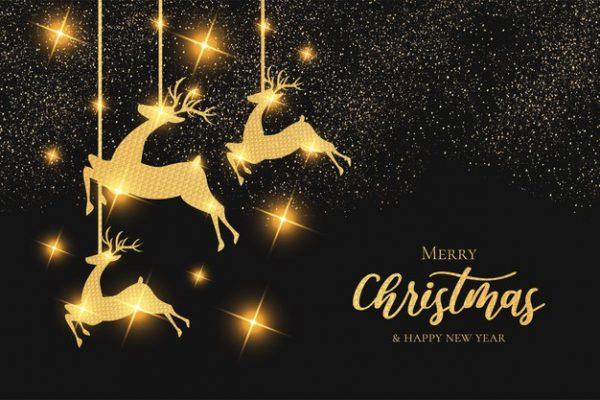 فایل psd وکتور کاغذ دیواری مدرن کریسمس با قاب گوزنی های طلایی کریسمس