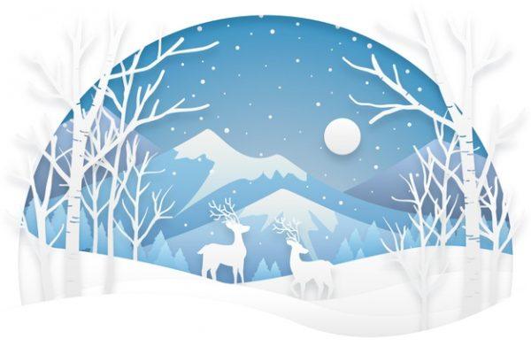 فایل psd وکتور جنگل و کوهستان برفی و گوزنها