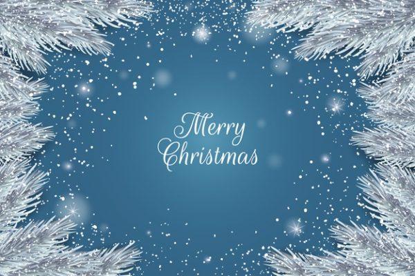 فایل آماده دانلود وکتور تبریک کریسمس با حاشیه صنوبر برفی