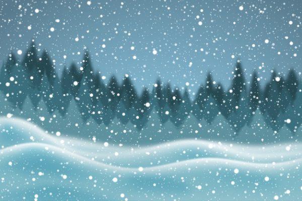فایل آماده دانلود وکتور منظره واقع گرایانه بارش برف