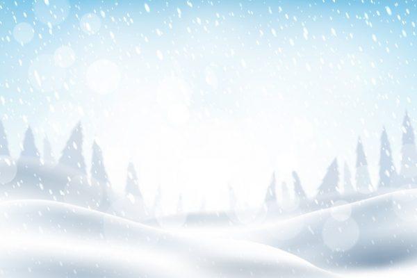 فایل آماده دانلود وکتور منظره بارش برف در کوهستان و جنگل سفید پوش