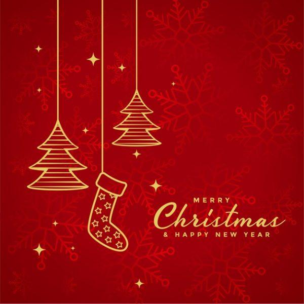 فایل آماده دانلود وکتور پس زمینه کریسمس مبارک قرمز با المانهای کریسمس