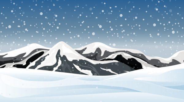 فایل آماده دانلود وکتور منظره برف پوشیده ی کوهستانی
