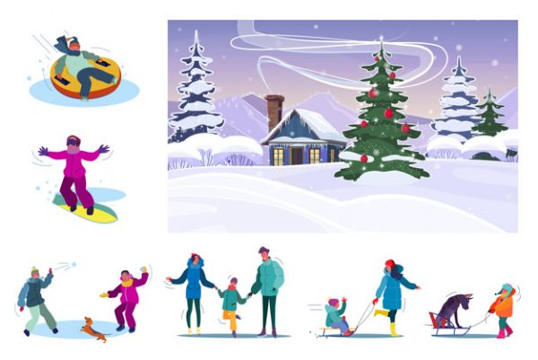 فایل psd وکتور مجموعه تفریحات زمستانی خانوادگی