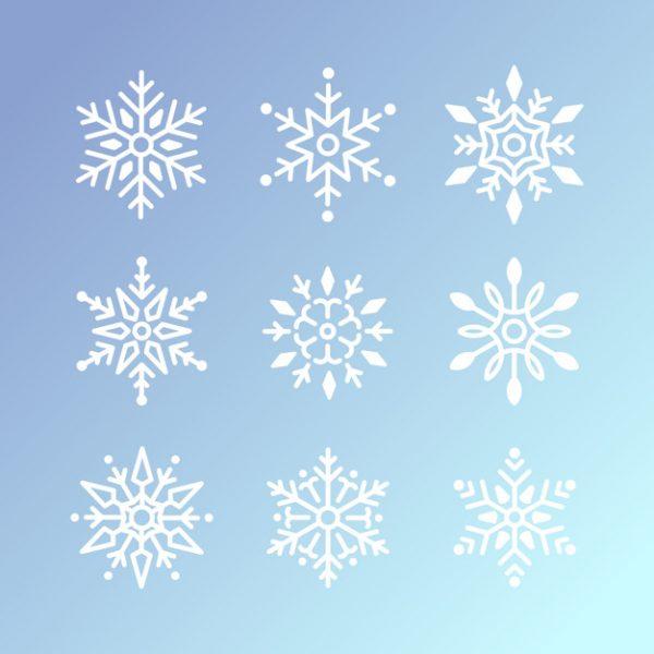 طرح لایه باز وکتور طرح کریسمس دانه های برف