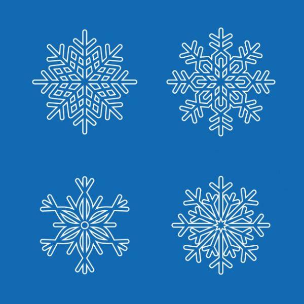 فایل آماده دانلود وکتور مجموعه دانه های برف آبی