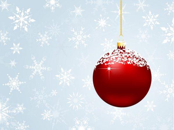فایل psd وکتور دانه های برف حباب تزئینی کریسمس قرمز