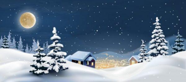 وکتور لایه باز طرح تصویرگری منظره زمستان