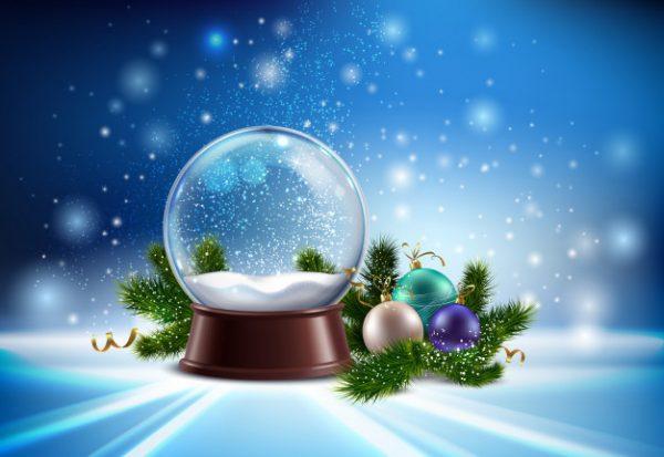 وکتور آماده دانلود حباب برفی و نمادهای تزئینی درخت کریسمس