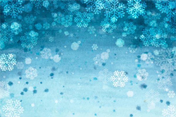 وکتور آماده دانلود زمستان سبک آبرنگ با دانه های برف