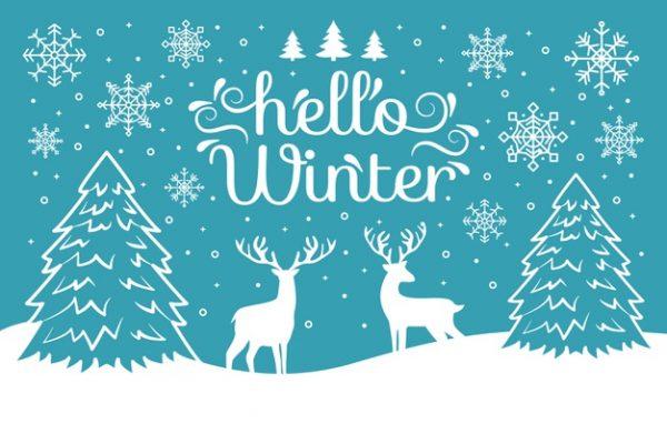 فایل psd وکتور منظره طراحی شده زمستان گوزنها درخت کاج برف